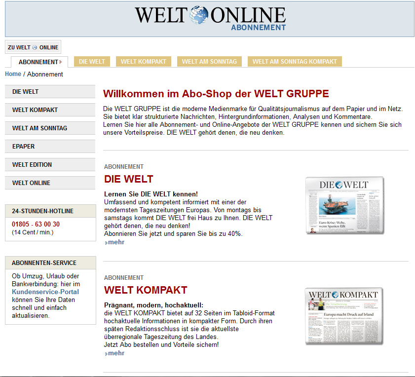 Screenshot des Abo-Bereichs der WELT Gruppe