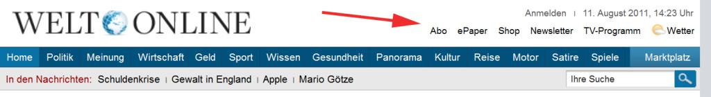 Screenshot der welt.de-Navigation, 11.08.2011