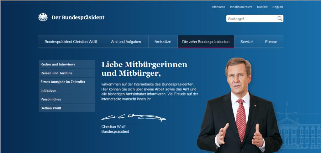 Screeenshot, bundespraesident.de (17.02.2012, 18.19 Uhr)