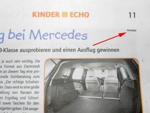Foto Kinder Echo März 2012, winziger Anzeigenhinweis in der rechten oberen Ecke
