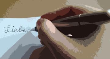 Hand schreibt Brief (Papiercollage Filter)