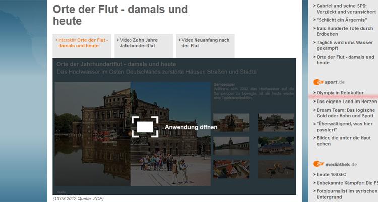 Interactive: Orte der Flut – damals und heute (12.08.2012)