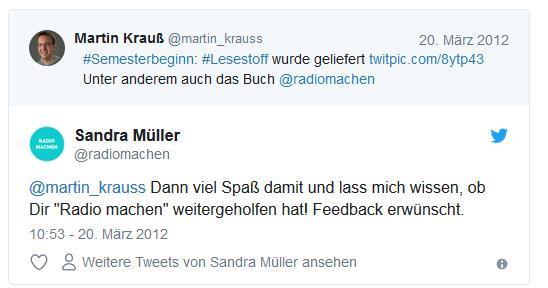 Screenshot: Tweetwechsel zwischen @martin_krauss und @radiomachen (1)