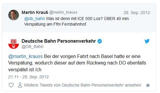 Screenshot: Tweetwechsel zwischen @martin_krauss und @db_bahn