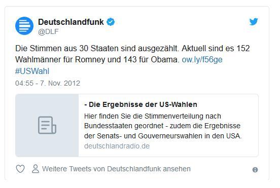 Screenshot: Tweet von @dlf zur US-Wahl