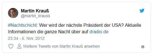 Screenshot: Tweet von @martin_krauss zur Nachtschicht beim Deutschlandradio zur US-Wahl