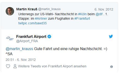 Screenshot: Tweet von Martin Krauß zur Nachtschicht beim DLF auf Twitter