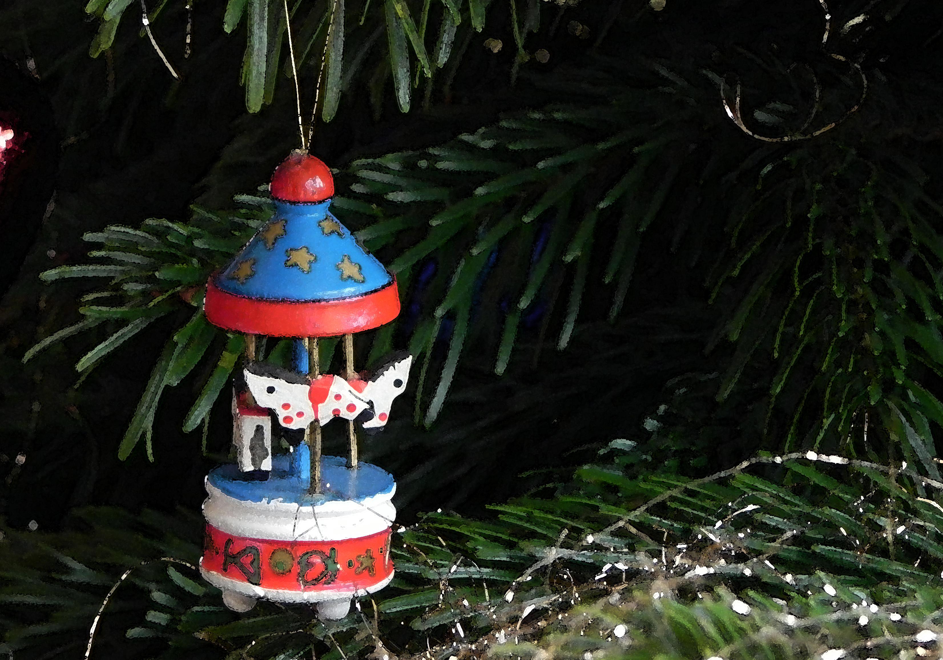 Ein Karussell am Weihnachtsbaum