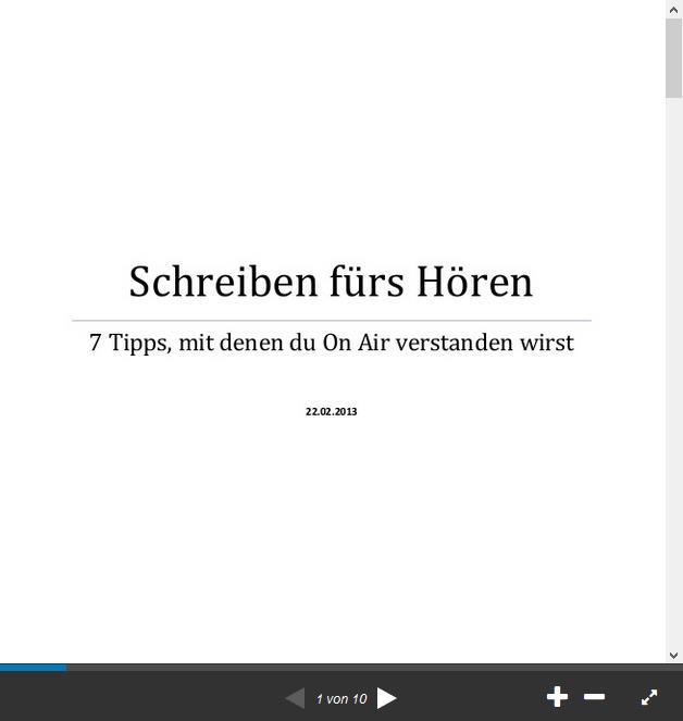 Screenshot: Schreiben fürs Hören - auf Slideshare.net