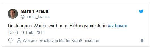 Screenshot: Tweet von @martin_krauss zur neuen Bildungsministerin Johanna Wanka