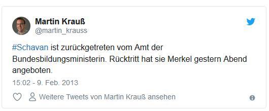 Screenshot: Tweet von @martin_krauss zum Rücktritt von Ministerin Schavan