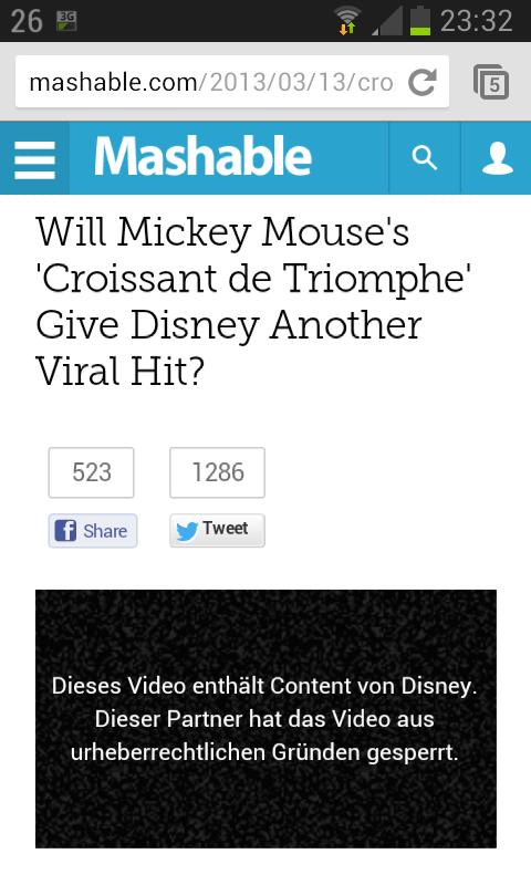 Screenshot: Micky Maus >Croissant de Triomphe< | 13.03.2013, 23.32 Uhr