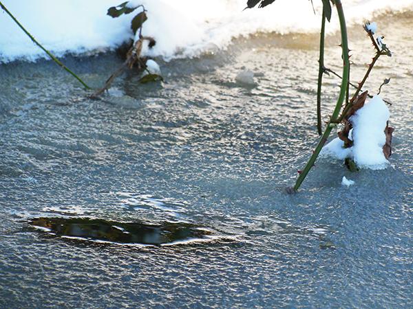 Ein Loch in einem zugefrorenem Bachlauf