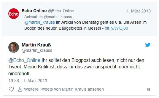 Screenshot: Tweet von @Echo_Online als Antwort auf Tweet von @martin_krauss zum Thema Arsen im Neubaugebiet in Messel