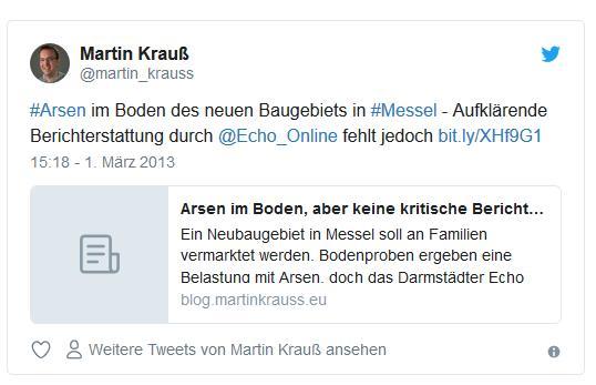 Screenshot: Tweet von @martin_krauss über die Berichterstattung des Darmstädter Echos über Arsen im Baugebiet in Messel
