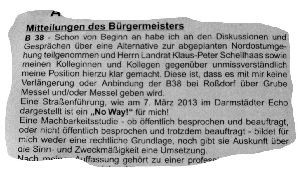Auszug aus der Mitteilung von Bürgermeister Andreas Larem (SPD)