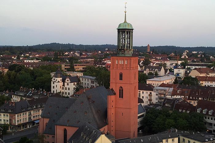 Blick auf die Stadtkirche von Darmstadt