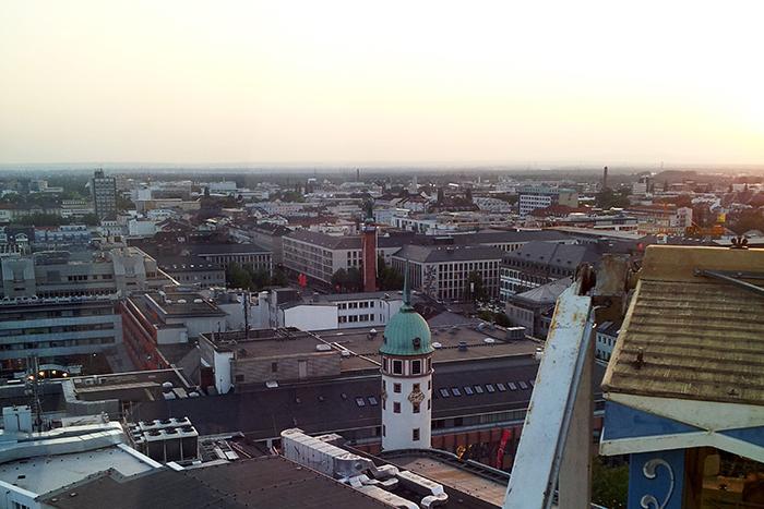 Blick vom Riesenrad in Richtung Luisenplatz in Darmstadt