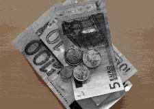 Euro-Scheine und Münzen stilisiert