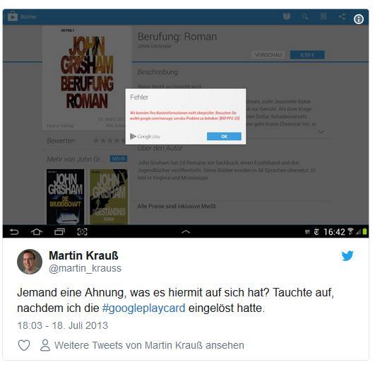 Screenshot: Tweet von @martin_krauss zu Google Play Guthabenkarten Fehler