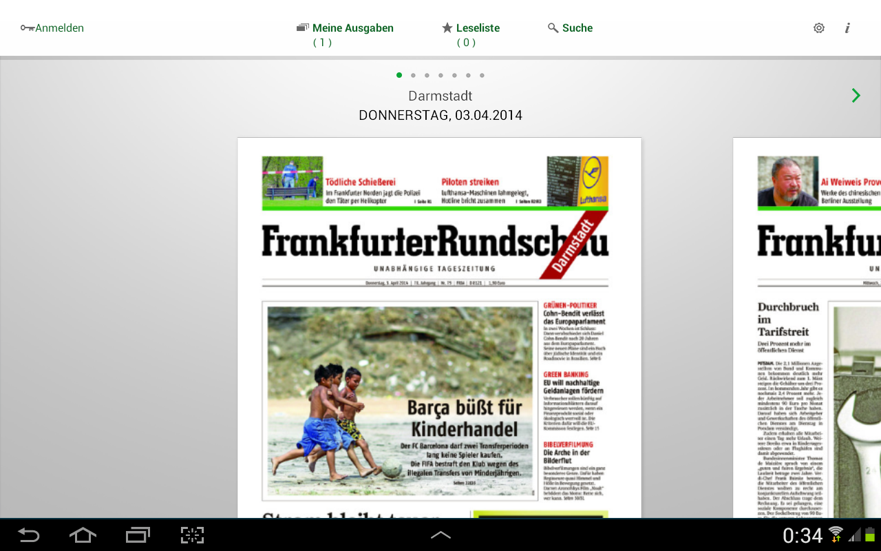 "Kioskansicht der neuen ""FR Digital"" App für Android-Tablets 