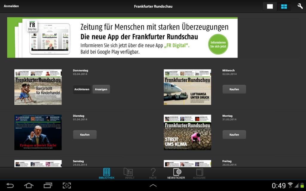 Frankfurter Rundschau HD: Die alte Android-Tablet-App
