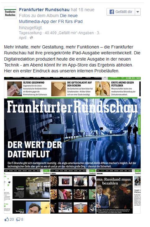 Facebook-Post der Frankfurter Rundschau zur neuen App
